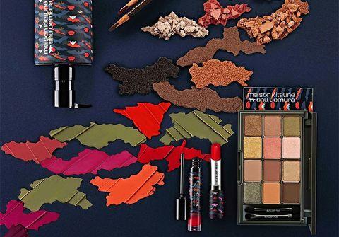 maison kitsune shu uemura makeup