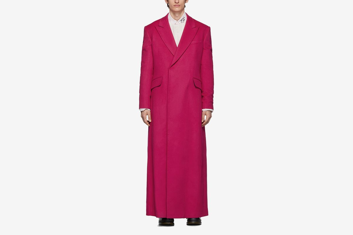 Wool Double-Breasted Long Coat