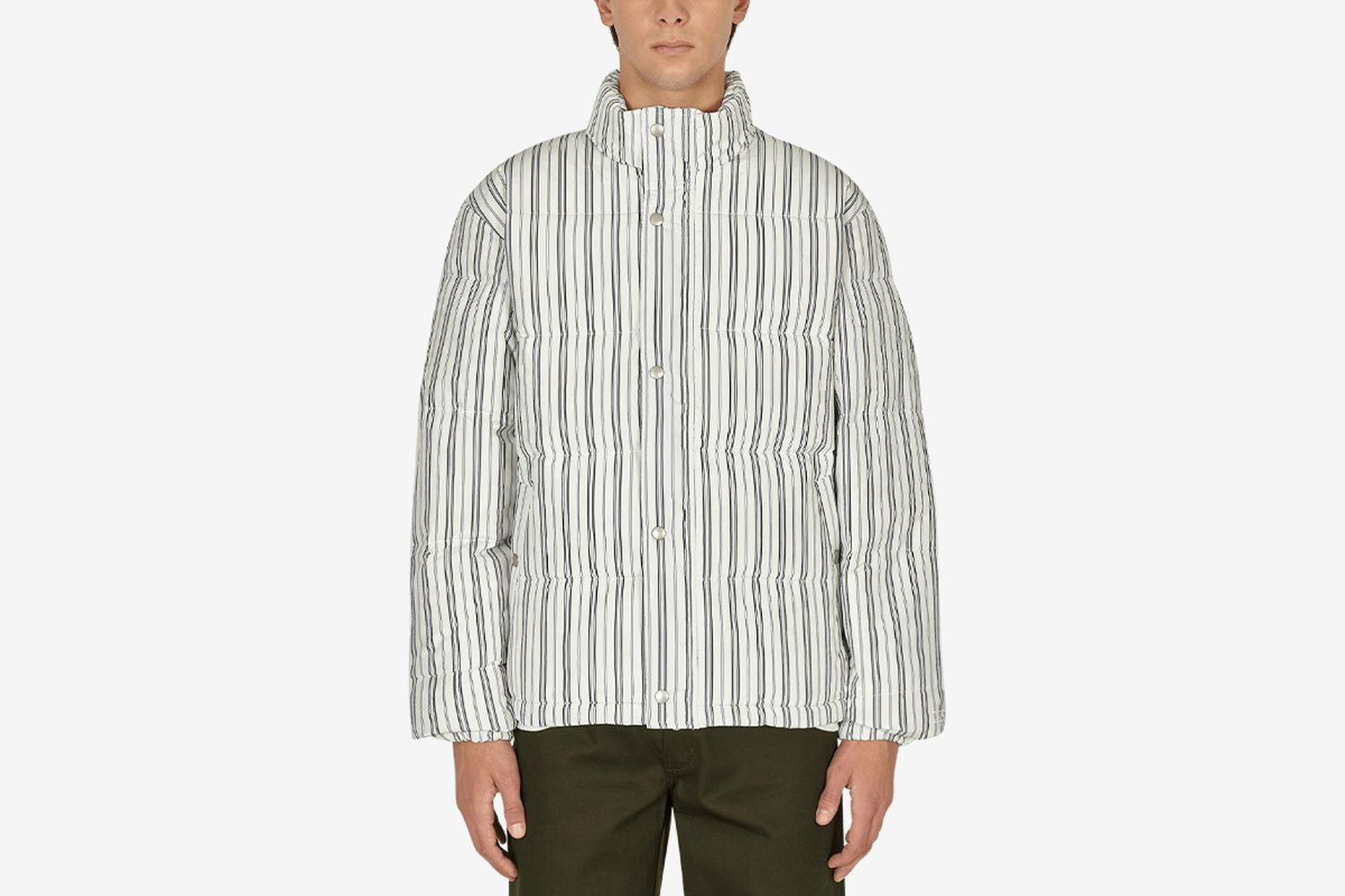 Striped down puffer jacket