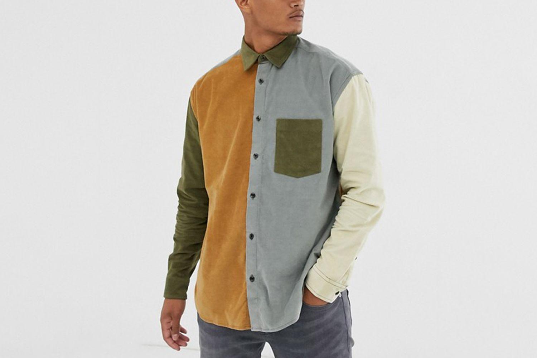 Oversized Cut & Sew Cord Shirt