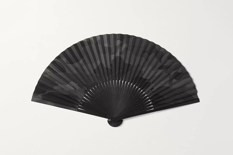 Camouflage-Print Bamboo Fan