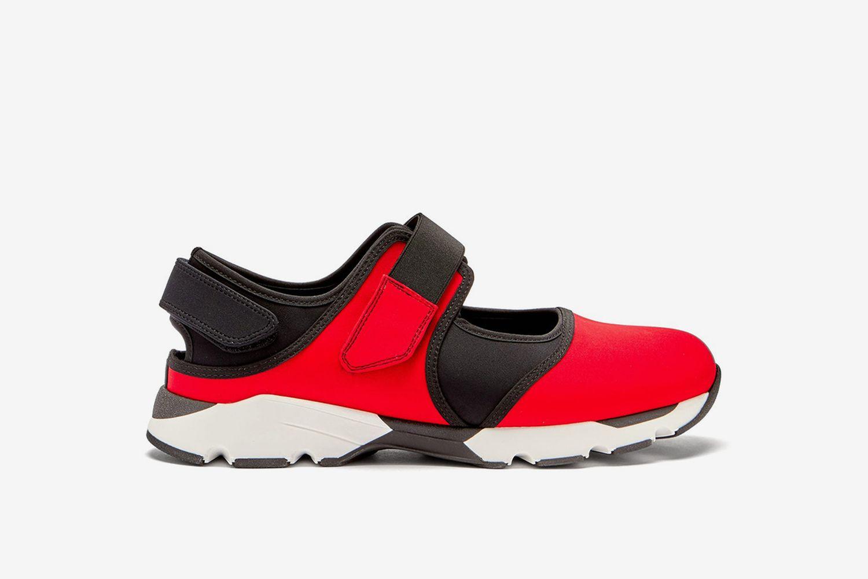 Velcro-Strap Cotton-Blend Neoprene Trainers