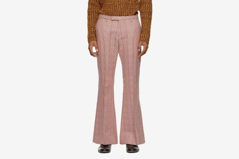 Wool and Silk Jacquard Flared Trousers