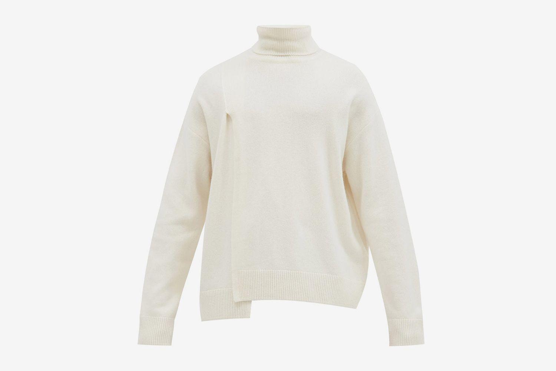 Irregular-Hem Wool-Blend Roll-Neck Sweater