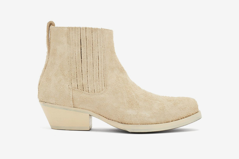 Cuban-Heel Suede Boots
