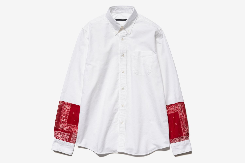 Bandana Panel Sleeve B.D Shirt White