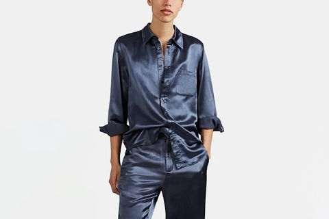 Relaxed Washed Satin Shirt