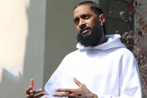 Nipsey Hussle white hoodie
