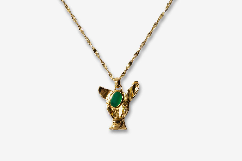 Green Onyx Deer Pendant