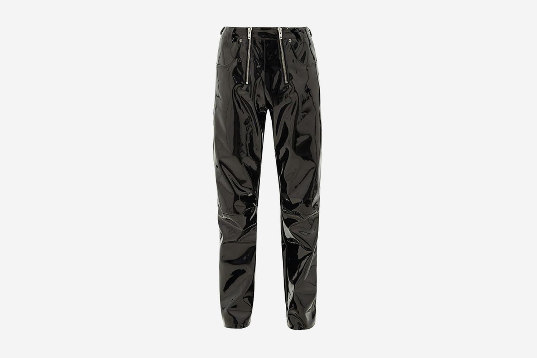 Double-Zip Vinyl Trousers