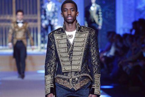 "b41d5a2d72 Diddy's Son Christian ""King"" Combs Exudes Royalty in Dolce & Gabbana's FW18  Show"
