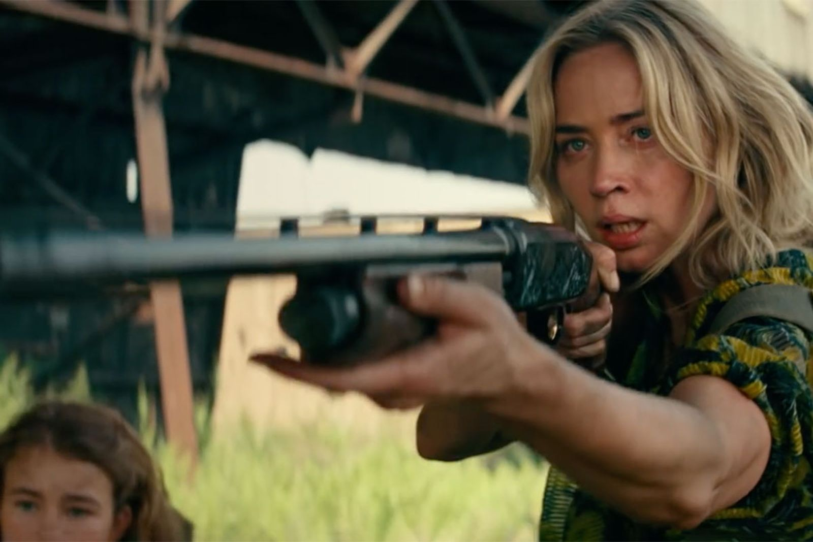 Emily Blunt points rifle in a quiet place part ii trailer