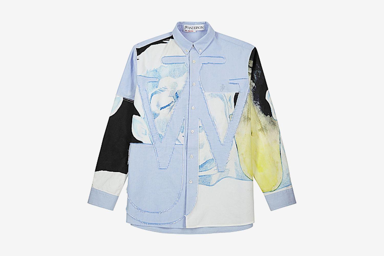 Printed Appliquéd Cotton Shirt