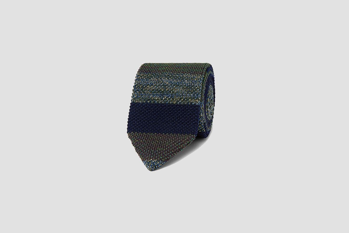 Striped Crochet-Knit Wool and Silk-Blend Tie
