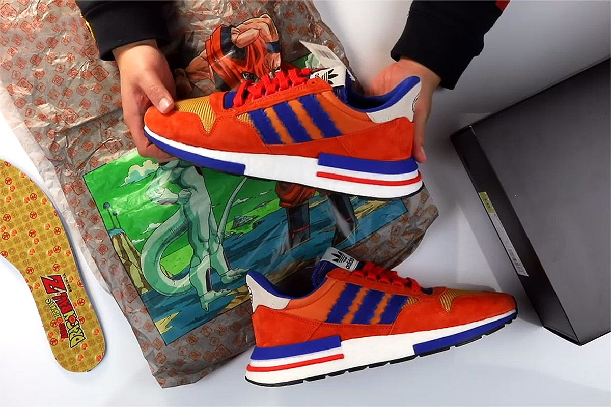 "81813aa87943bf Watch as the  Dragon Ball Z  x adidas ZX 500 RM ""Goku"" Gets Unboxed"