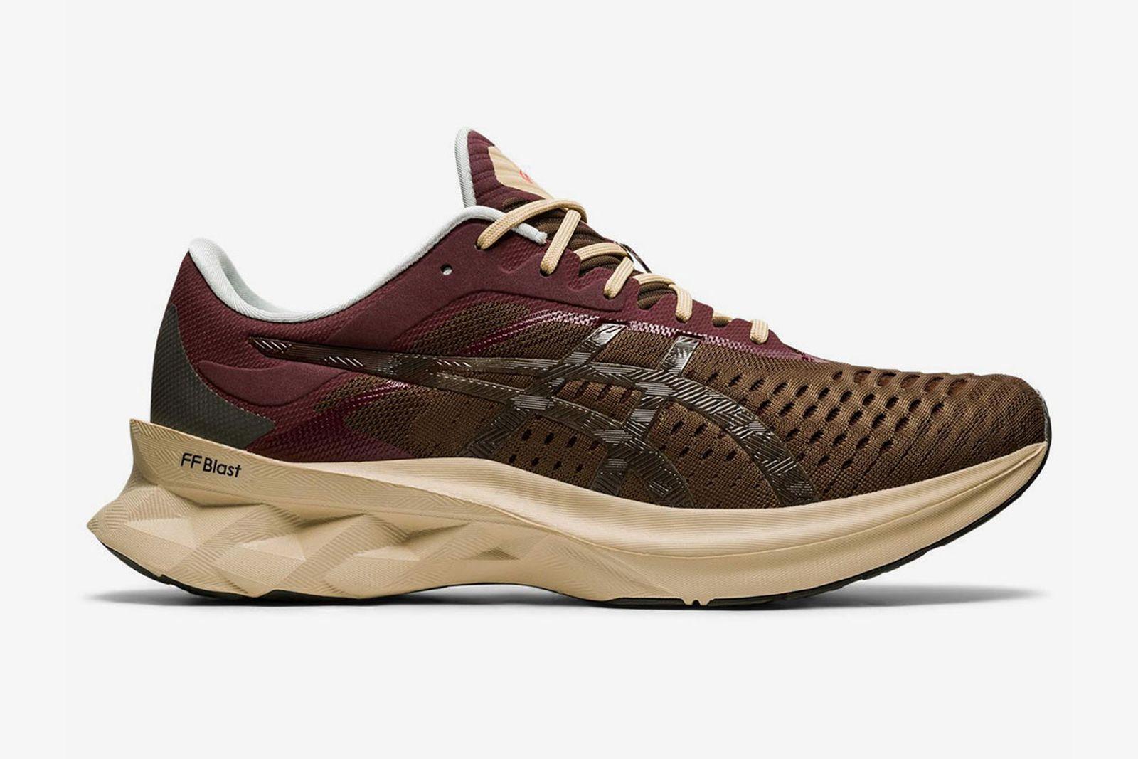 affix x asics novablast sneaker product shot brown