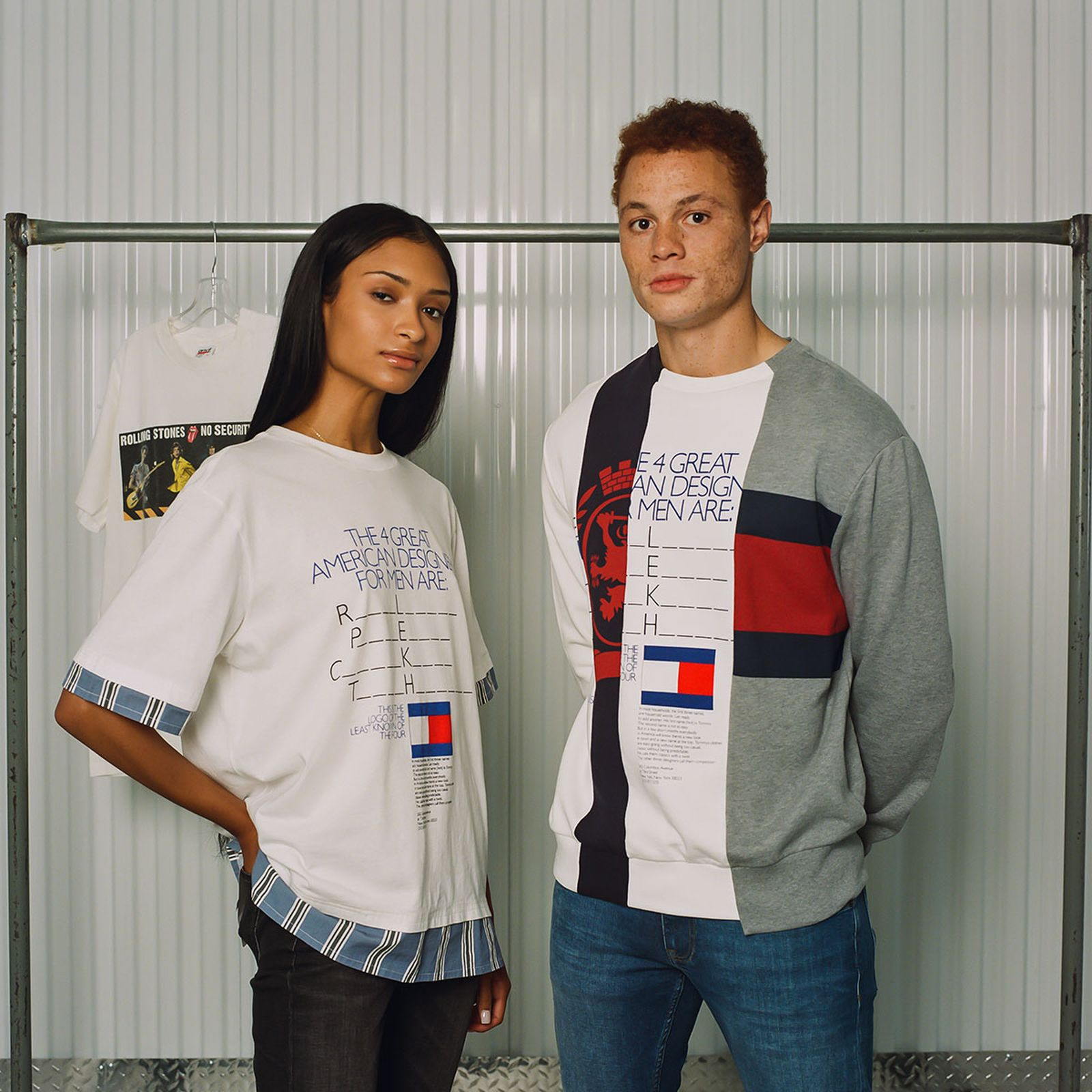 (Left) Tommy Hilfiger Collection Men's Photo Print T-Shirt (Spring 2018). (Right) Tommy Hilfiger Collection Men's Multi Logo Sweatshirt (Spring 2019)