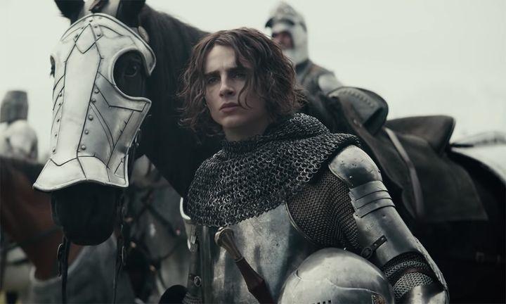 Timothée Chalamet armor horse The King trailer