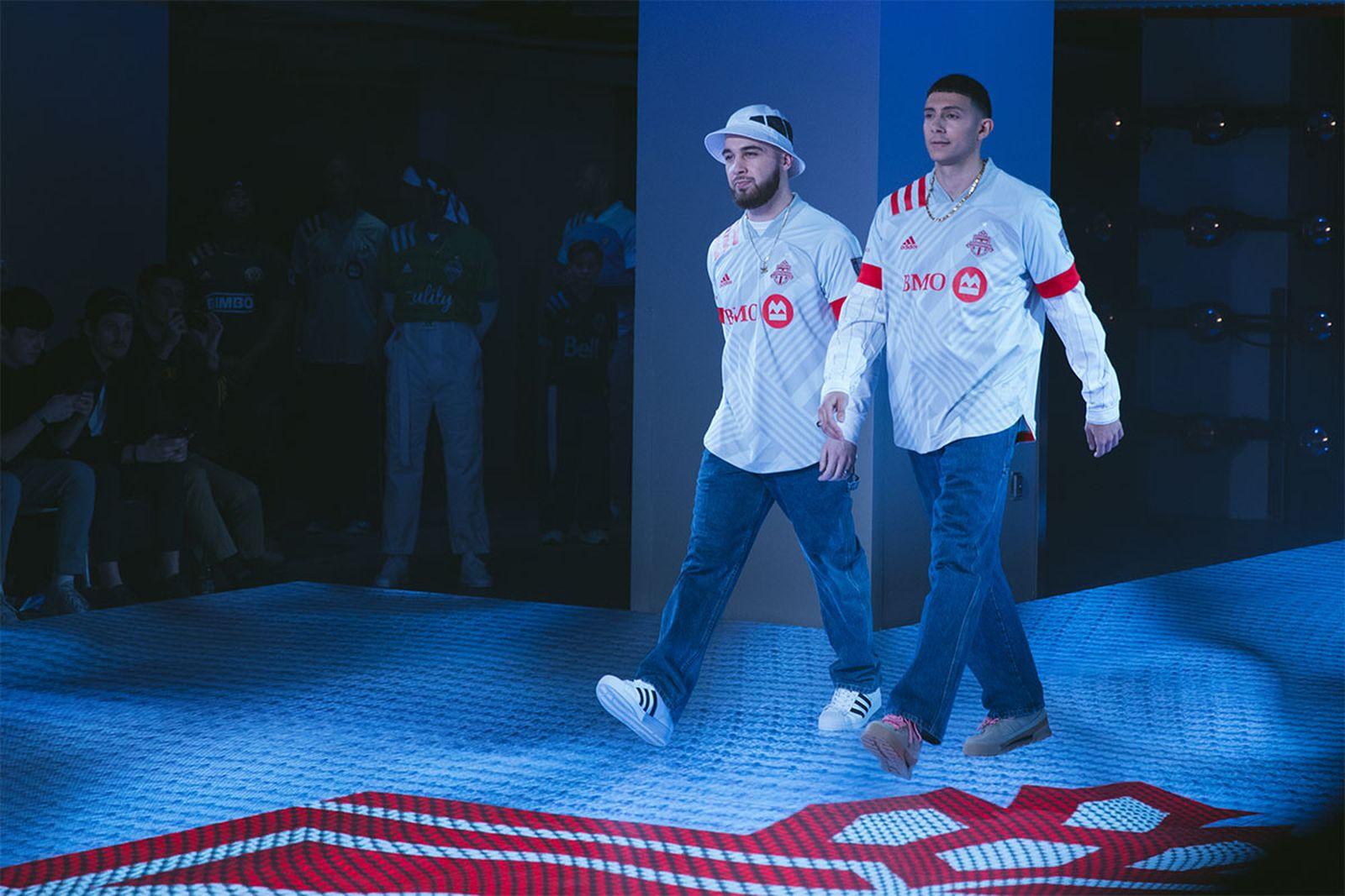 R&B duo Majid Jordan walks the runway for MLS' 2020 jersey unveiling at NYFW: Men's.