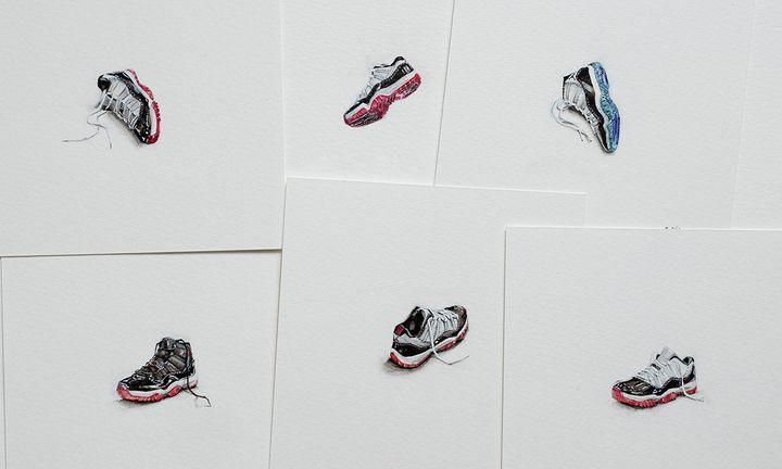 Eric Ng's tiny sneaker drawings
