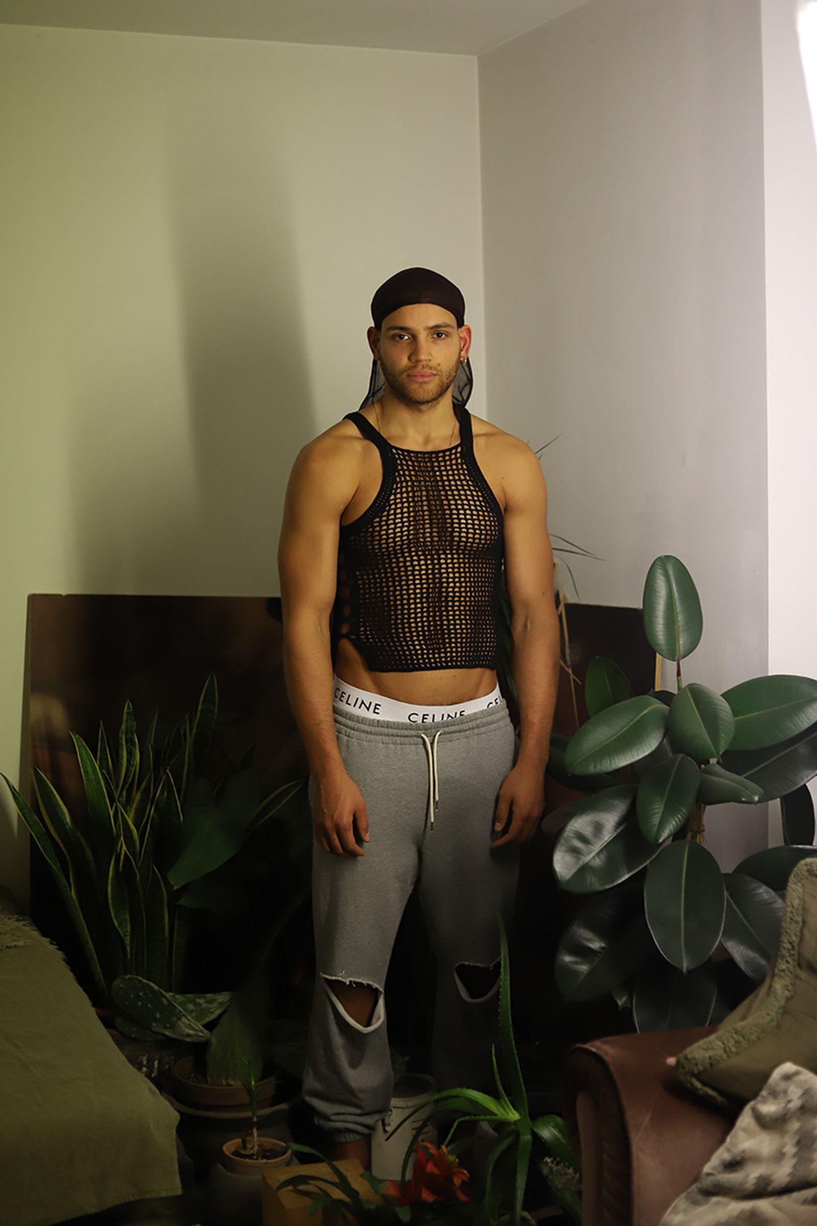 mesh tank top DION LEE  grey loose cotton trackpants & white cotton underwear CELINE durag personal