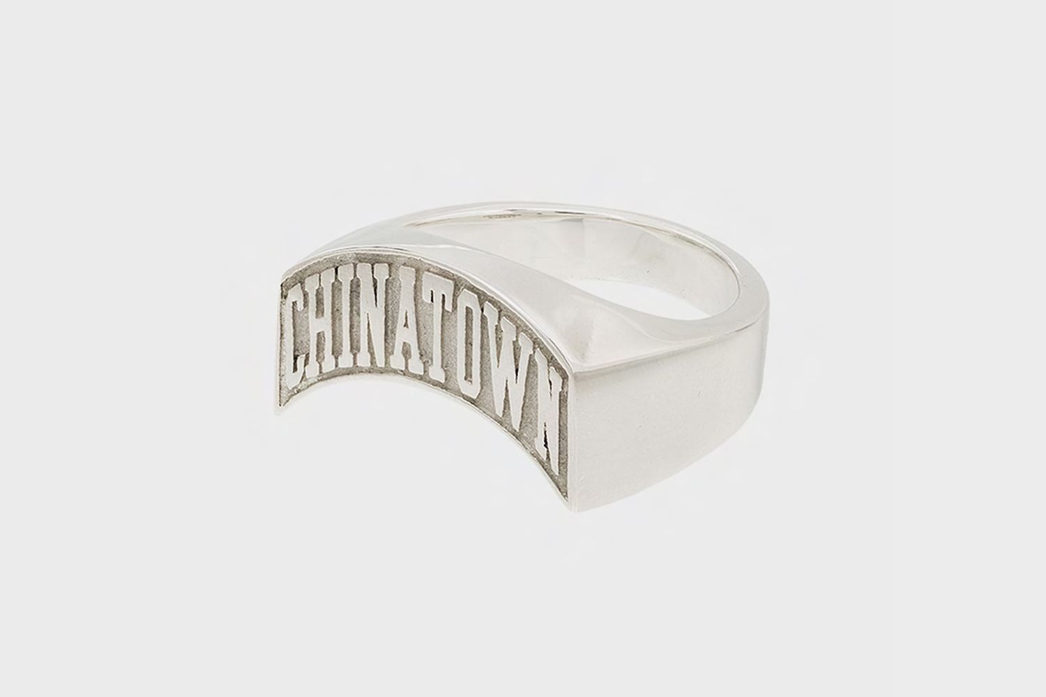 Silver-Plated Logo Signet Ring
