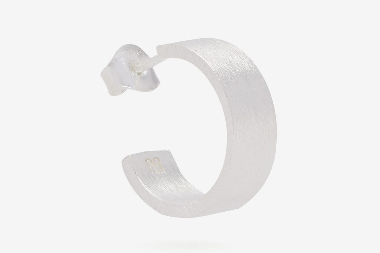 Single Rectangle Silver Earring