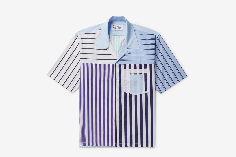 Camp-Collar Striped Cotton-Poplin Shirt