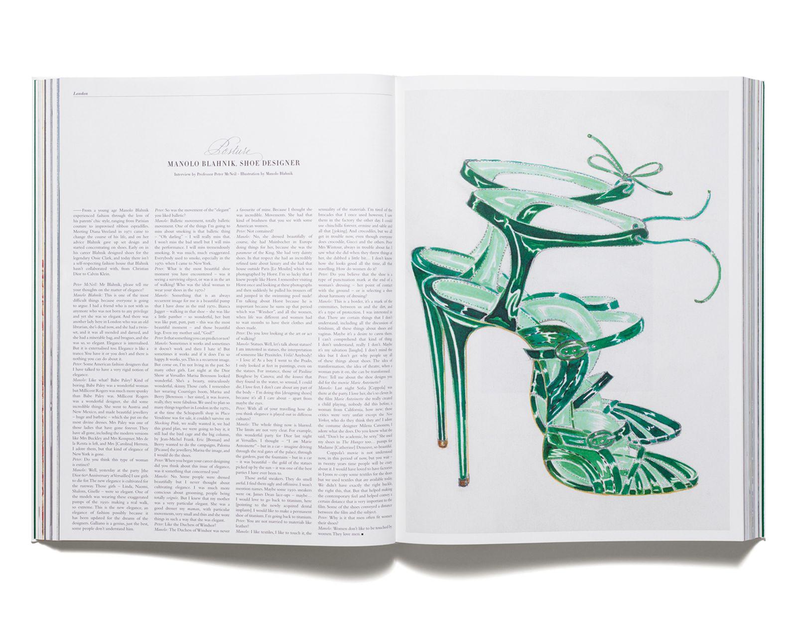 MANOLO BLAHNIK - Interview with Manolo Blahnik by Peter McNeil. Illustration by Manolo Blahnik.