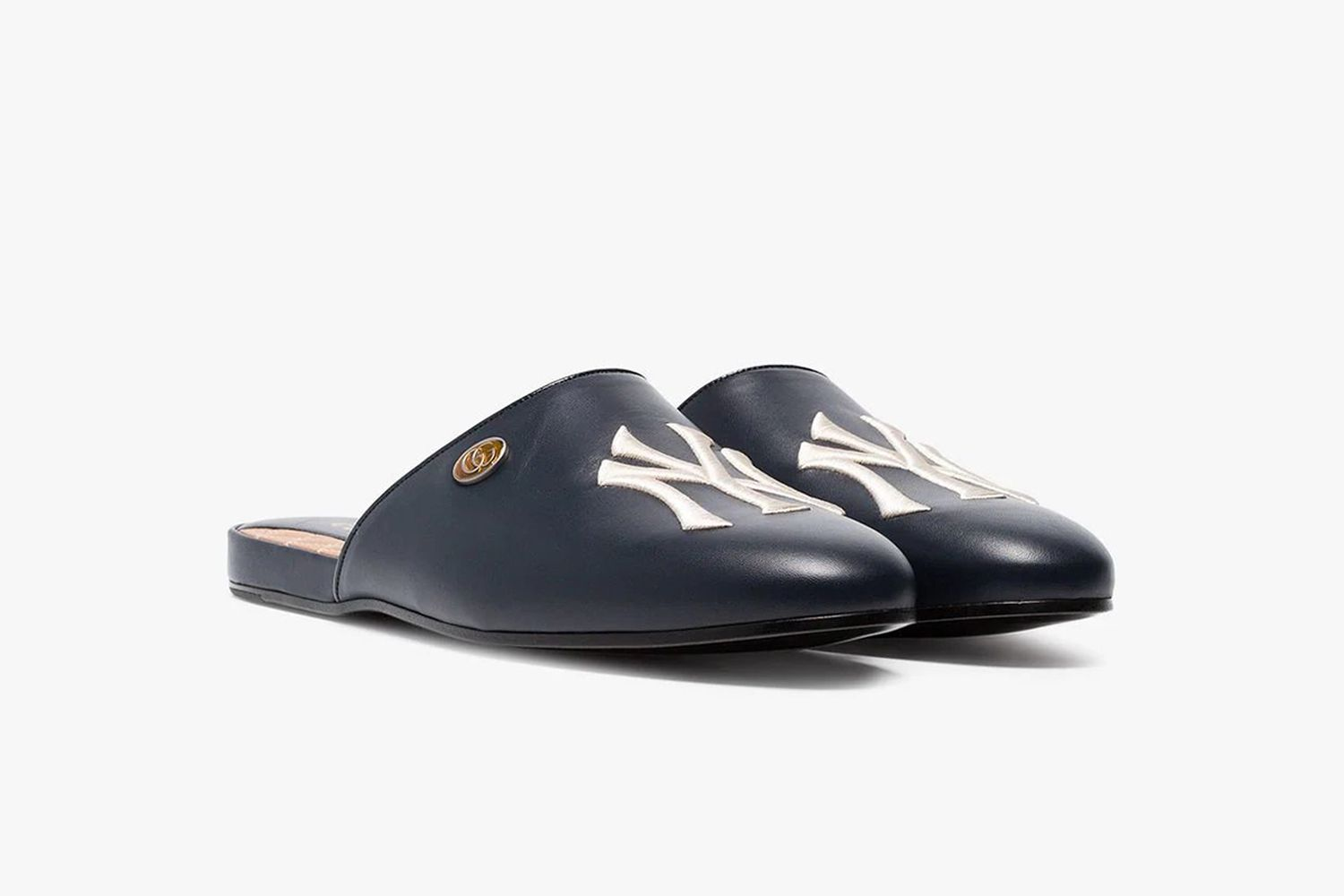 NY Yankees Leather Slippers