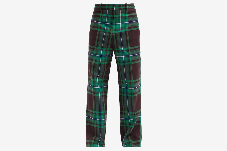 Tartan Cotton-Twill Wide-Leg Suit Trousers