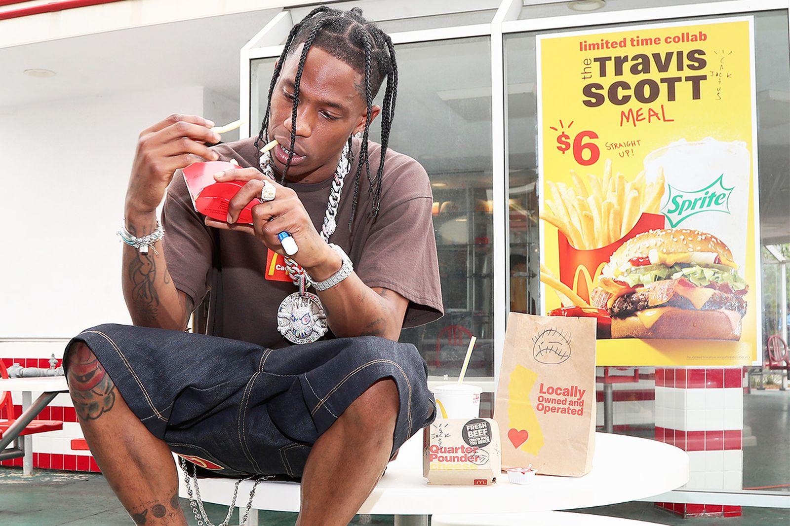 travis scott eating a McDonald's burger