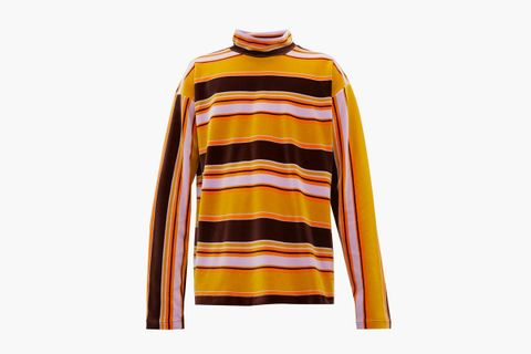 High-Neck Striped Cotton-Velour Top