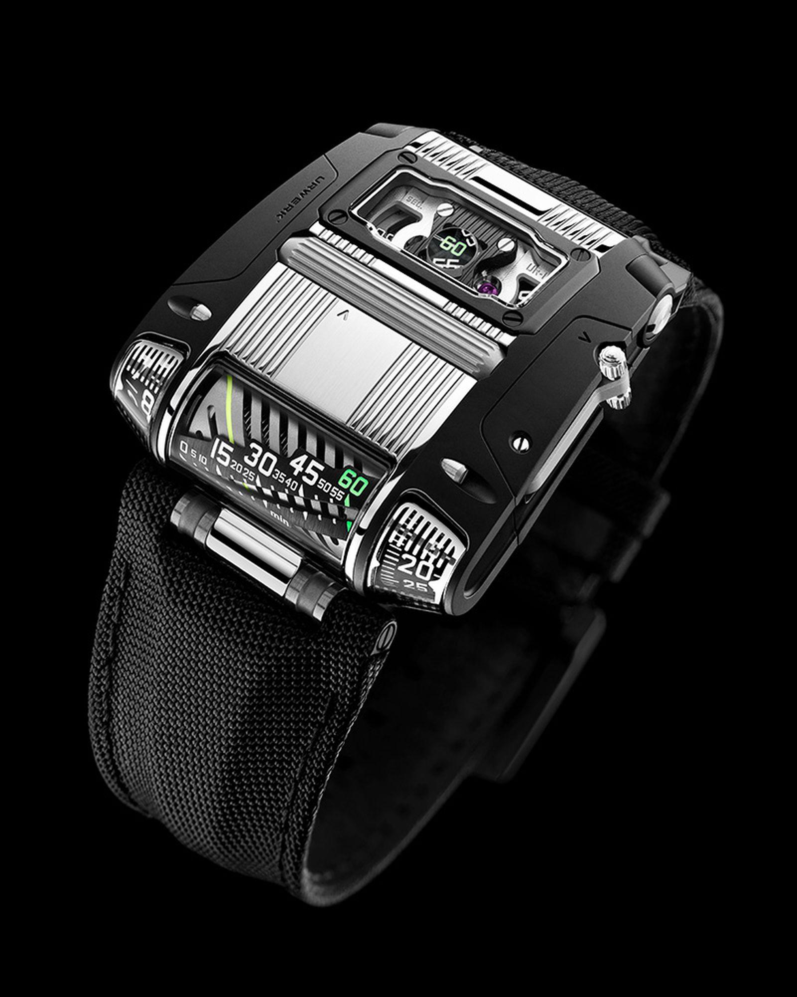 Urwerk UR-111C in steel and black PVD steel with jumping hours, retrograde linear minutes, digital minutes, digital seconds. $130,000.