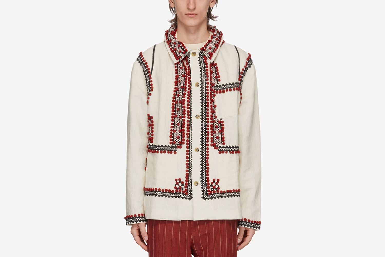 Pom-Pom Applique Workwear Jacket