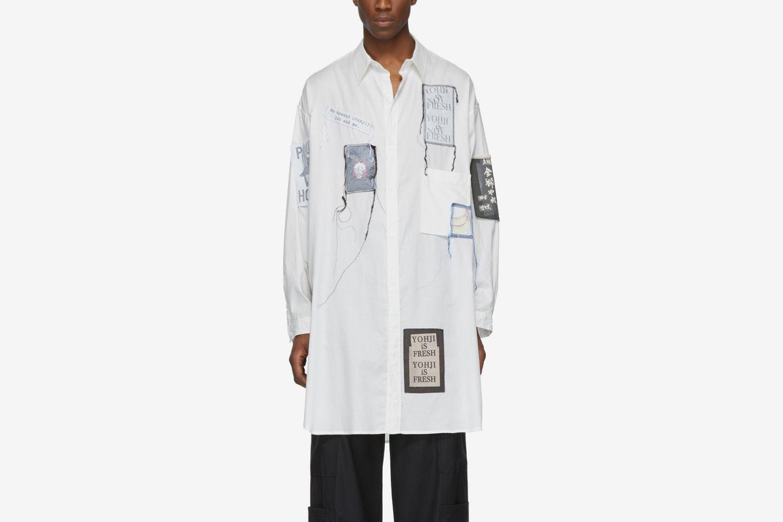 White Emblem Patch Shirt
