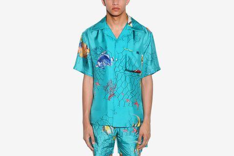 Fishnet Holiday Print Silk Bowling Shirt