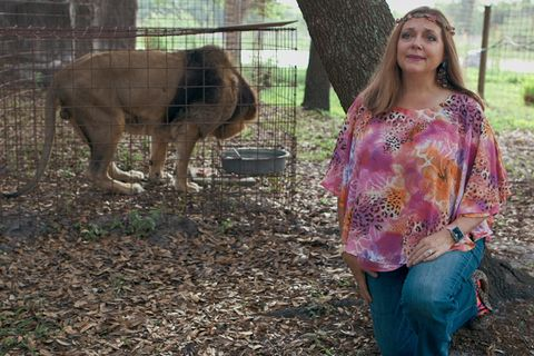 Carole Baskin and lion in 'Tiger King'
