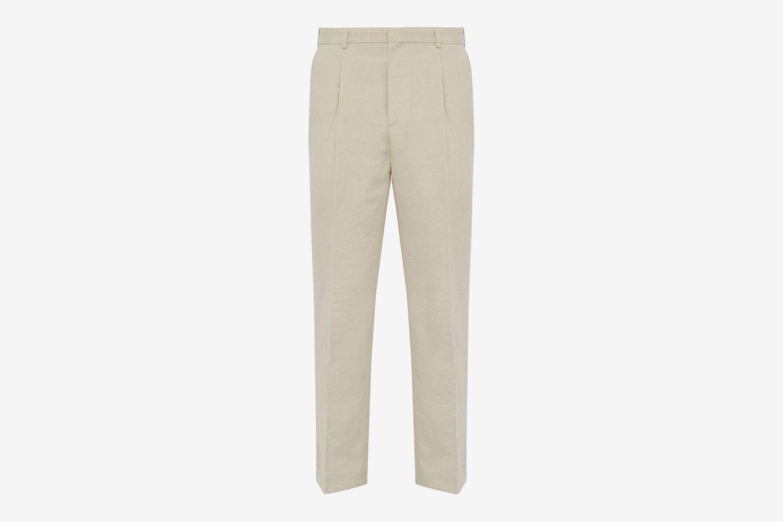 Yvan Mid-Rise Linen-Blend Trousers
