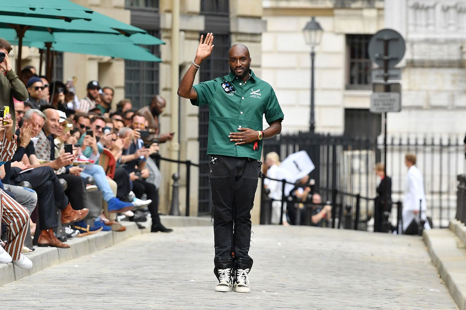 Virgil Abloh waves at Louis Vuitton show