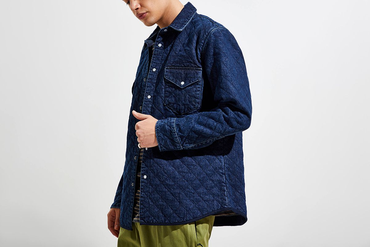 Quilted Western Button-Down Shirt