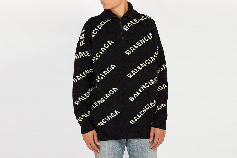 Intarsia-logo Half Zip Sweater
