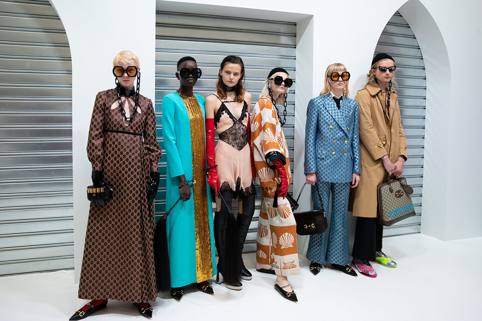 models line up for Gucci ss20 runway