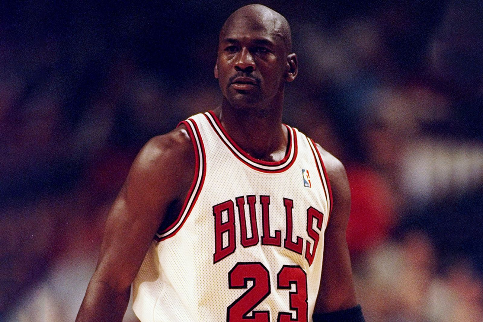 Michael Jordan of the Chicago Bulls looks on during a game against the San Antonio Spurs