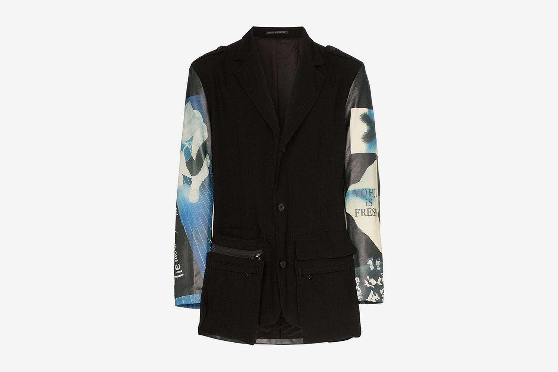 Graphic Print Leather Panelled Blazer Jacket
