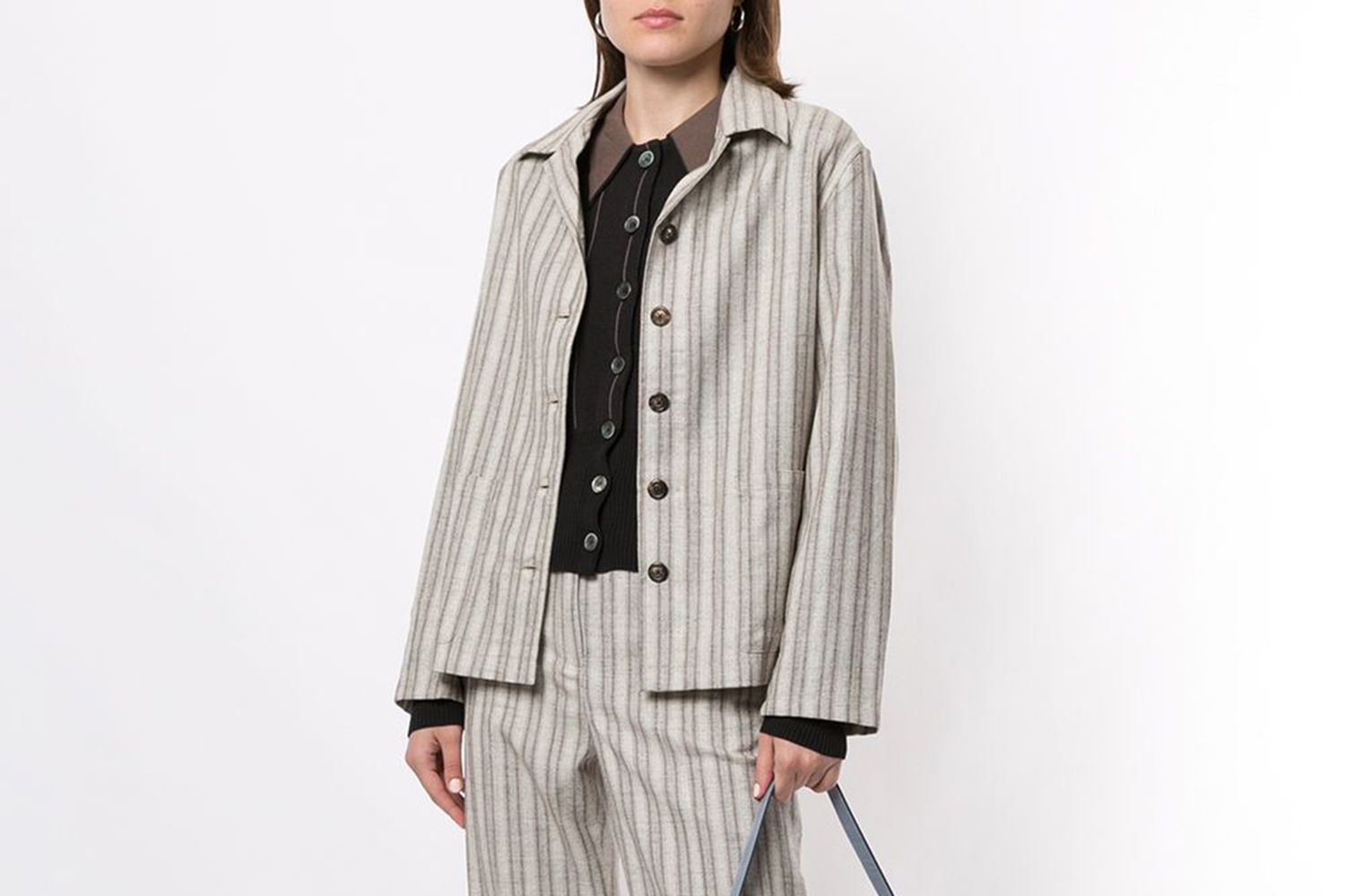 Striped Buttoned Jacket