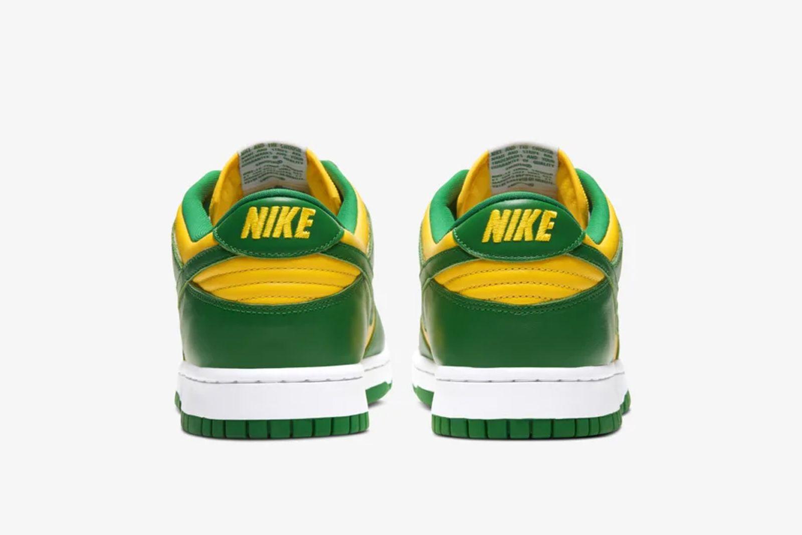Nike SB Dunk Low Brazil yellow green and white product shot