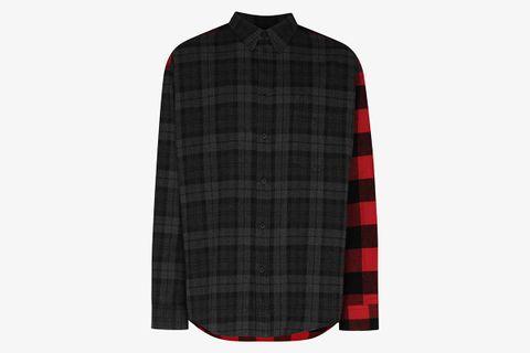 Spliced Flannel Shirt