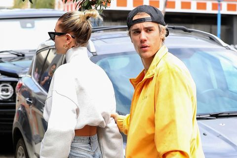 Justin Bieber in canary yellow Drew House tracksuit and Hailey Bieber celebrating his 26th Birthday in LA