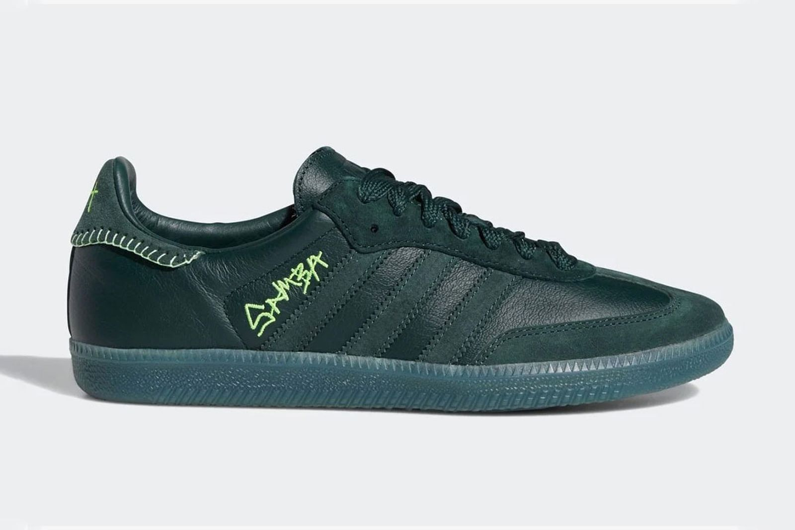 Jonah Hill adidas samba green product shot